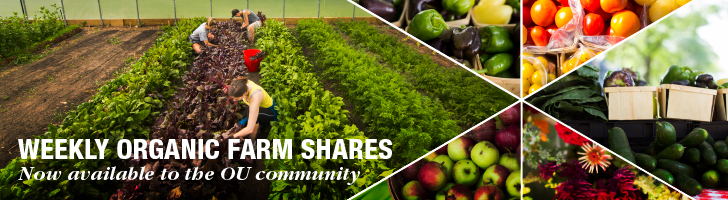 Weekly Organic Farm Shares now available to the OU Community, people farming fruit and vegetables