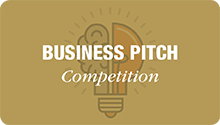 Business Pitch Competition, button white text, gold background, lightbulb