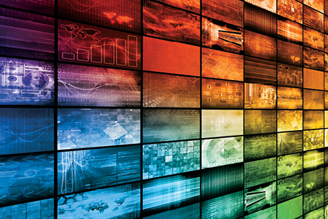 Rainbow colored collage of small screens displaying different data.