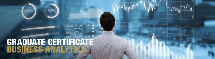 Graduate Certificate Business Analytics, man looking at a screen of graphs and charts