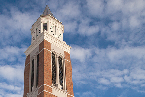 A photo of the Elliott tower and the blue sky