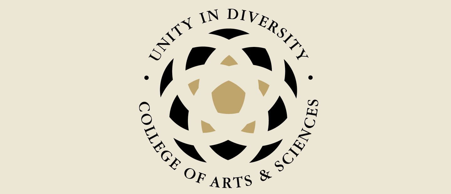 "A circular logo with a graphic sunburst type pattern in the middle and text around the outside. The text reads ""Unity in Diversity. College of Arts & Sciences."""