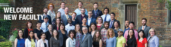 image of new faculty members at Oakland University with President Pescovitz and Provost Lentini, text says Welcome New Faculty