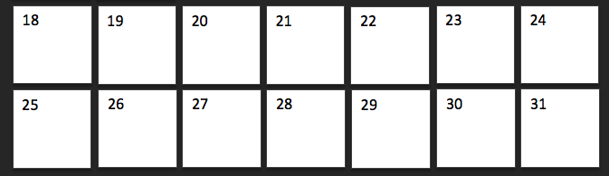 Two weeks on a grid calendar