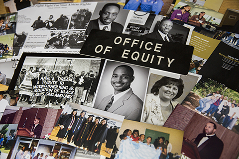 Collage of photos and articles about equality and the Office of Equity