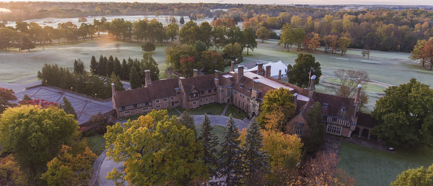 aerial photo of Meadow Brook Hall at dawn
