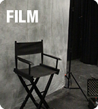 "grayscale image of a director's chair with the text ""film"""