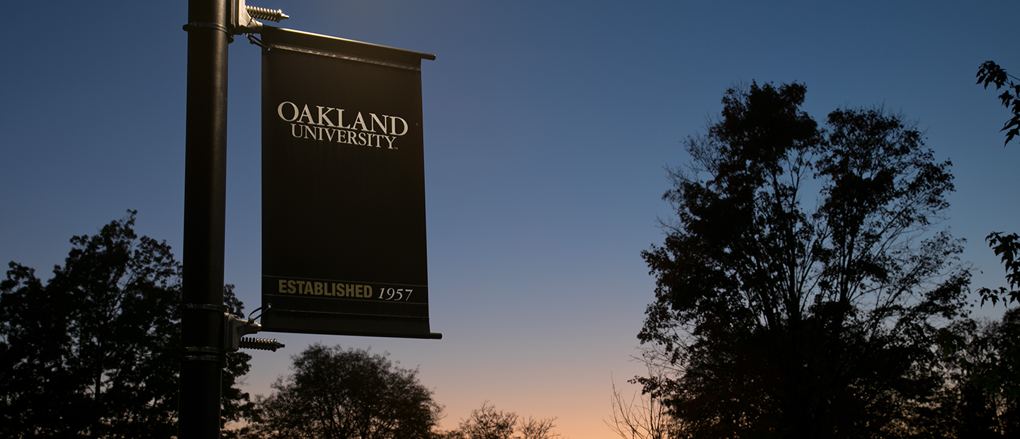 An Oakland University banner hanging on a light post outside with a setting sun in the background.