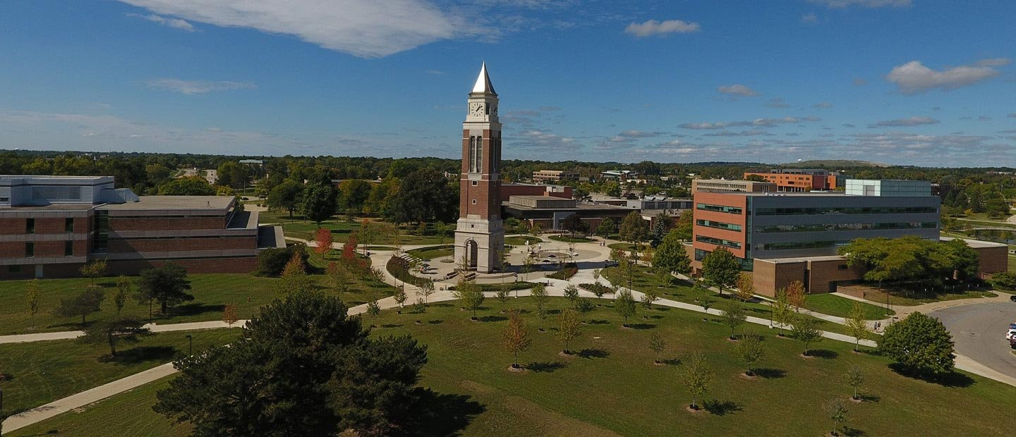 Aerial photo of Oakland University with Elliott Tower in the center