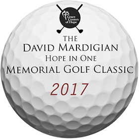 Golf ball with text Grace Centers of Hope, The David Mardigian Hope in One Memorial Golf Classic 2017
