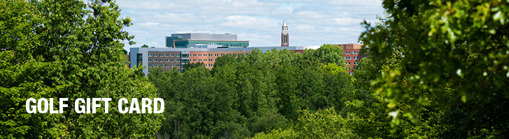 "image of trees with Oakland University buildings in the background with the text ""Golf Gift Card"""