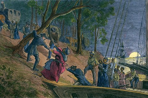 Artistic drawing of the Underground Railroad, people being helped up a hill at night