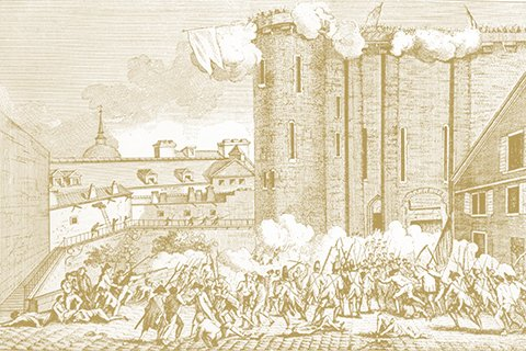 Artistic drawing of a battle in a castle