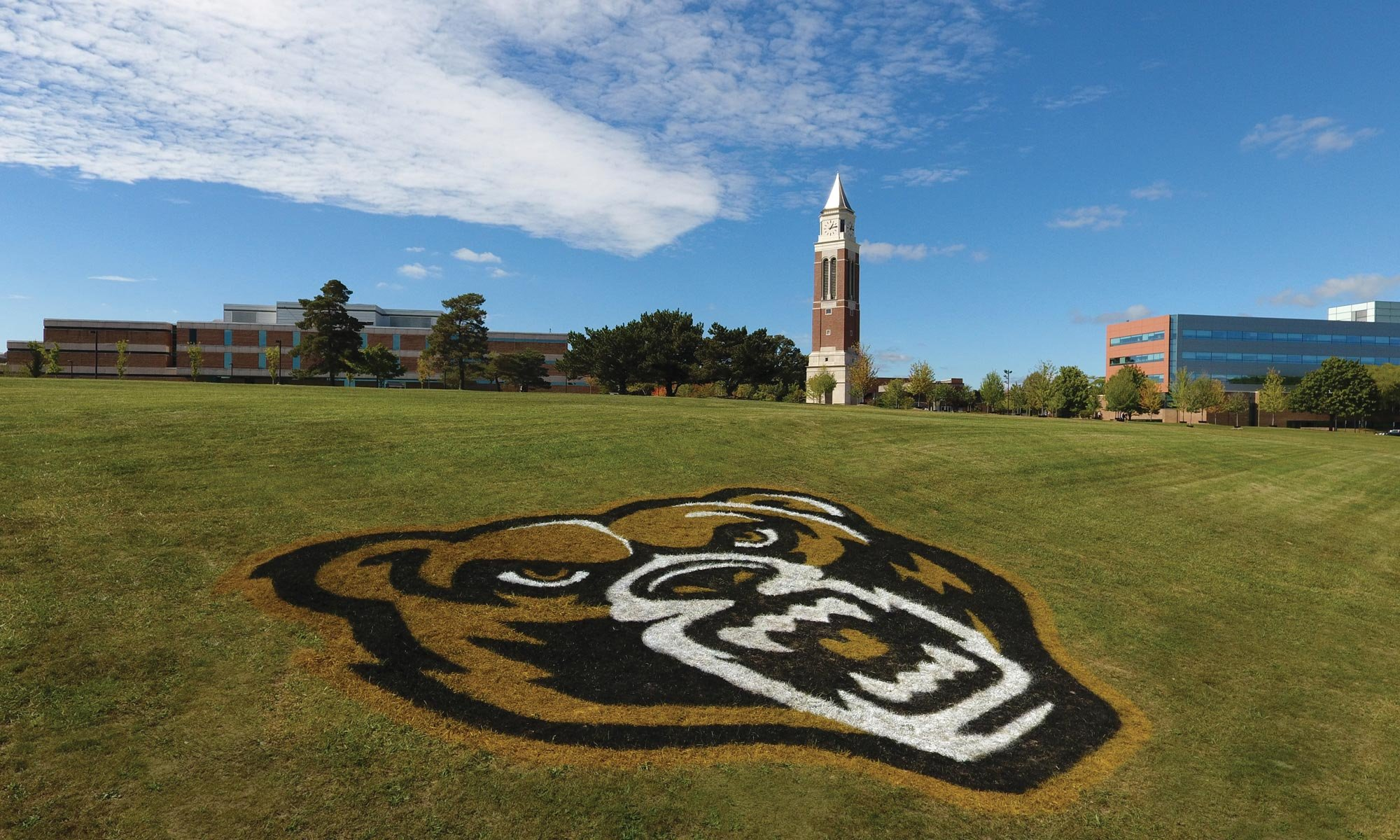 Oakland University's logo painted into the grass on a hill with Elliott Tower seen in the background