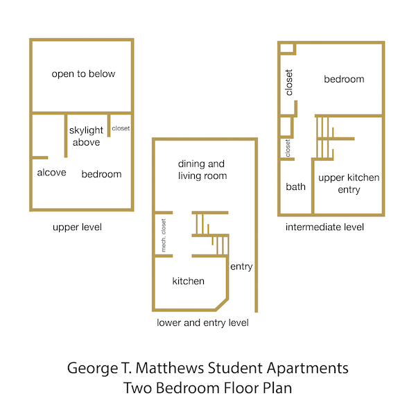 George T. Matthews Student Apartments Two Bedroom Floor Plan, with rooms labeled