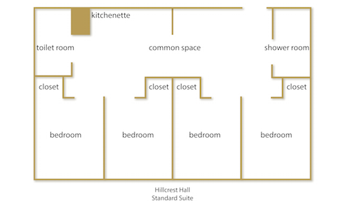 Hillcrest Hall Standard Suite floor plan with rooms labeled