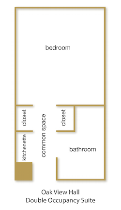 Oak View Hall Double Occupancy Suite floor plan with rooms labeled