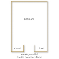 Van Wagoner House Double Occupancy Room floor plan with rooms labeled