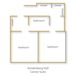 Vandenberg Hall Corner Suite floor plan with rooms labeled