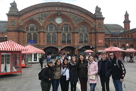 OU study abroad student and friends in Oldenburg, Germany.