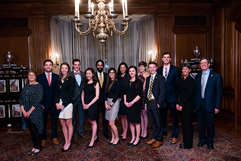 Alpha Omega Alpha Honor Medical Society inductees in Meadow Brook Hall