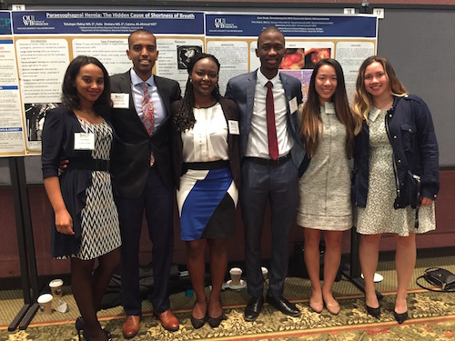 O U W B medical students Ayoda Werede, Mohammed Ahmed, Tolulope Ifabiyi, Felix Orelaru, Danielle Yee and Rachel Shercliffe at the American College of Physicians Conference in Traverse City, M I.