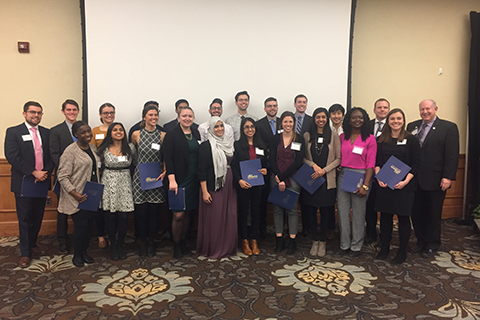 Group photo of inductees into the Gold Humanism Honors Society