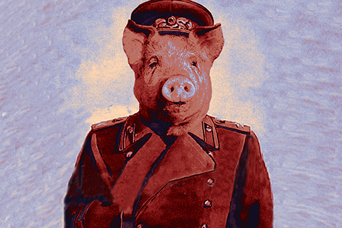 Animal farm graphic image of a pig wearing a soldier's uniform