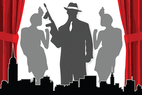 Graphic of three silhouettes between an open red curtain, black city skyline outlined in front of their feet