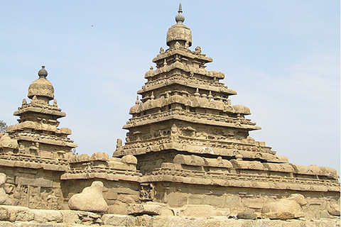 Pyramid shaped decorative buildings in India