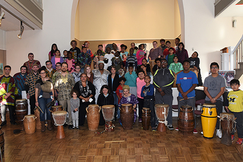 Chinelo Amen-Ra together with Oakland University's Akwaaba African Ensemble and Ngoma World Percussion Ensemble with instruments