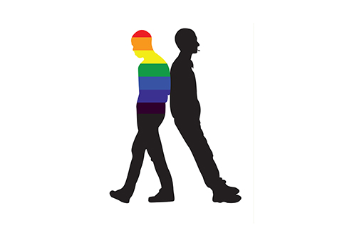silhouettes of two men standing back to back, one with rainbow stripes on the upper body