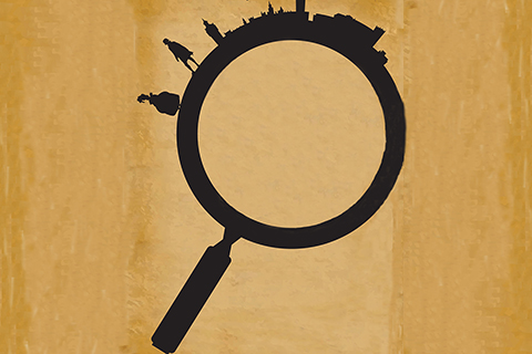 black outline of a magnifying glass with a city skyline and people around the edge