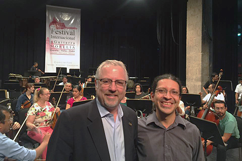James Lentini, O U's provost and senior vice president for Academic Affairs (left), pictured with Miguel Ángel García, conductor of the Michoacán Symphony Orchestra