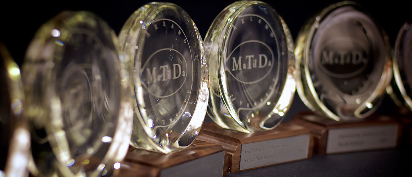 "Row of glass, circular award trophies with ""Matilda"" engraved on it"