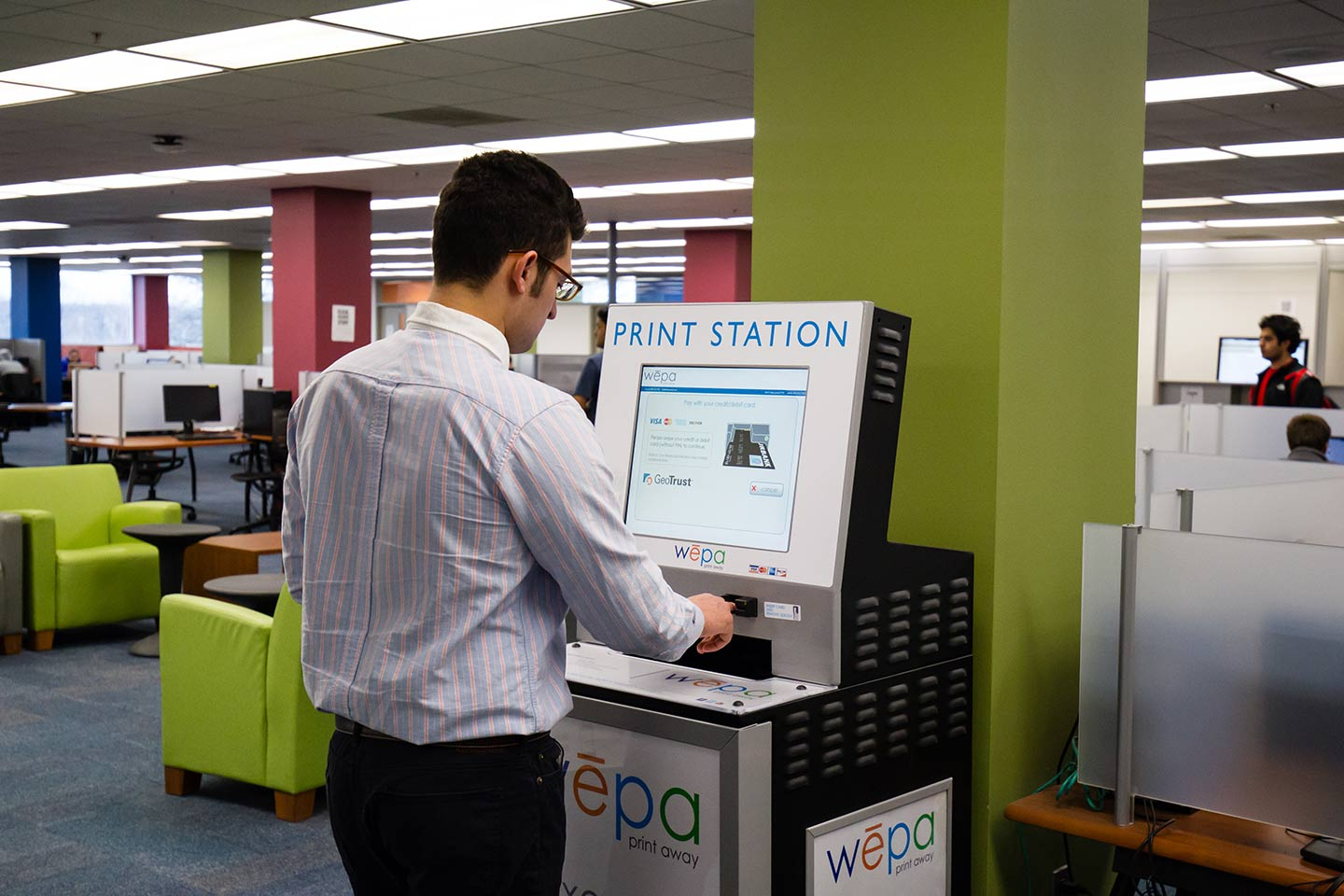 wepa print station in Kresge Library