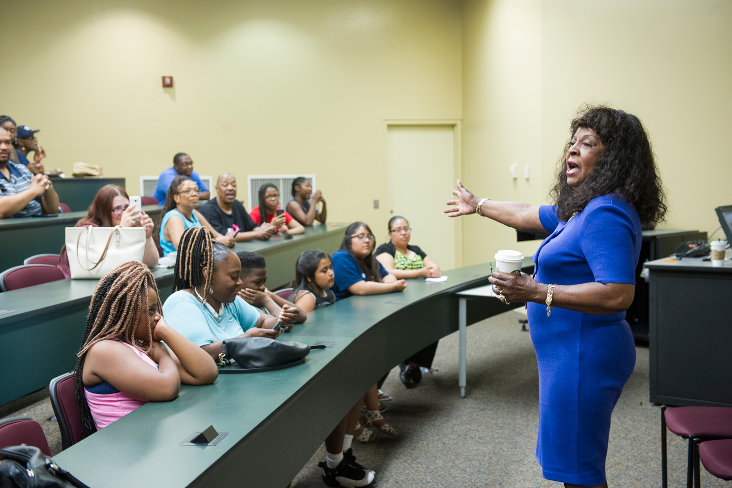 Martha Reeves speaking to students