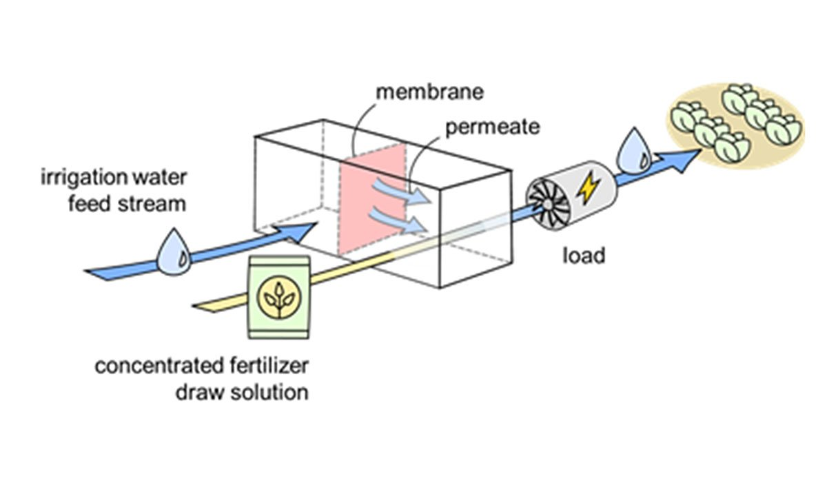 illustration of energy being converted to mechanical work through osmosis