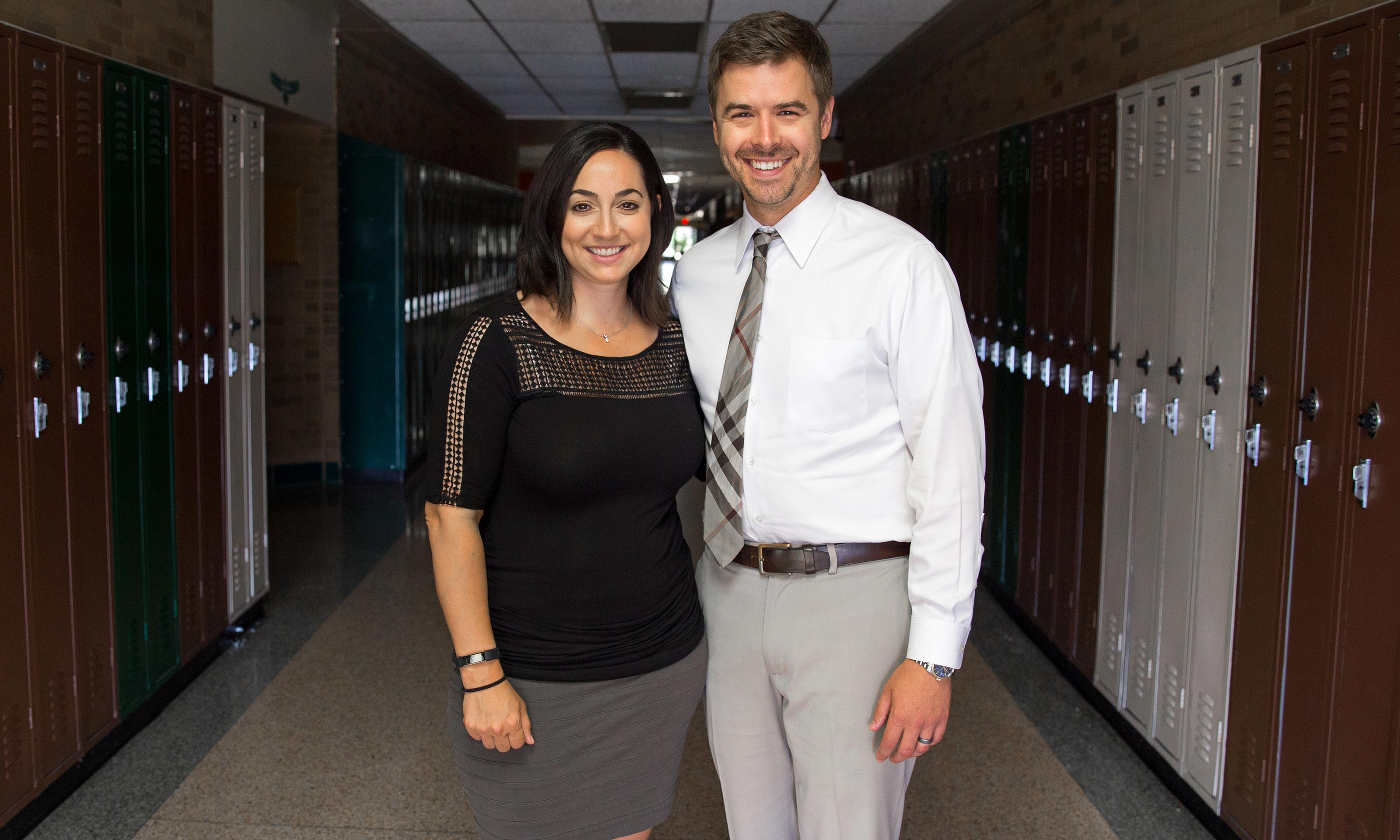 Oakland University alums Cliff and Angie Snitgen in the classroom