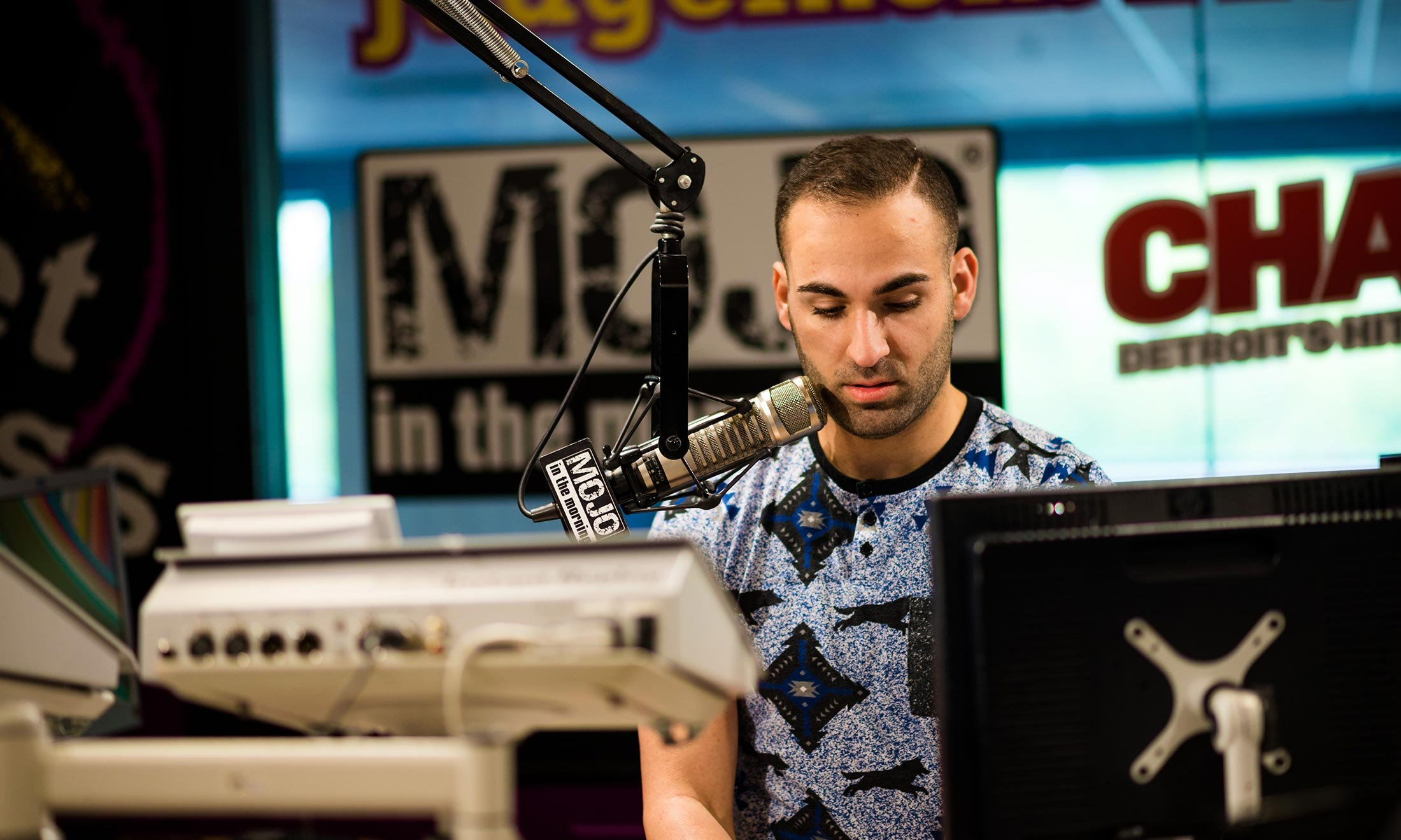 Joe Namou does a sound check in the iHeartRadio studio