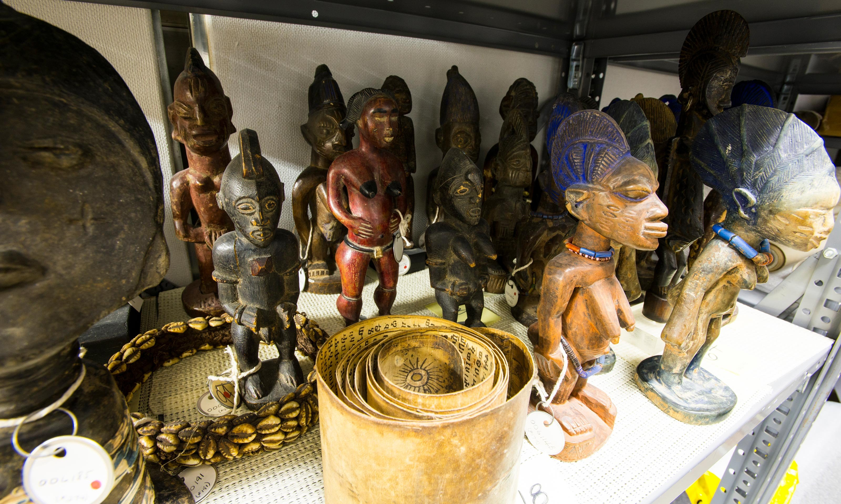 African statuettes in the back storage space of the Oakland University Art Gallery