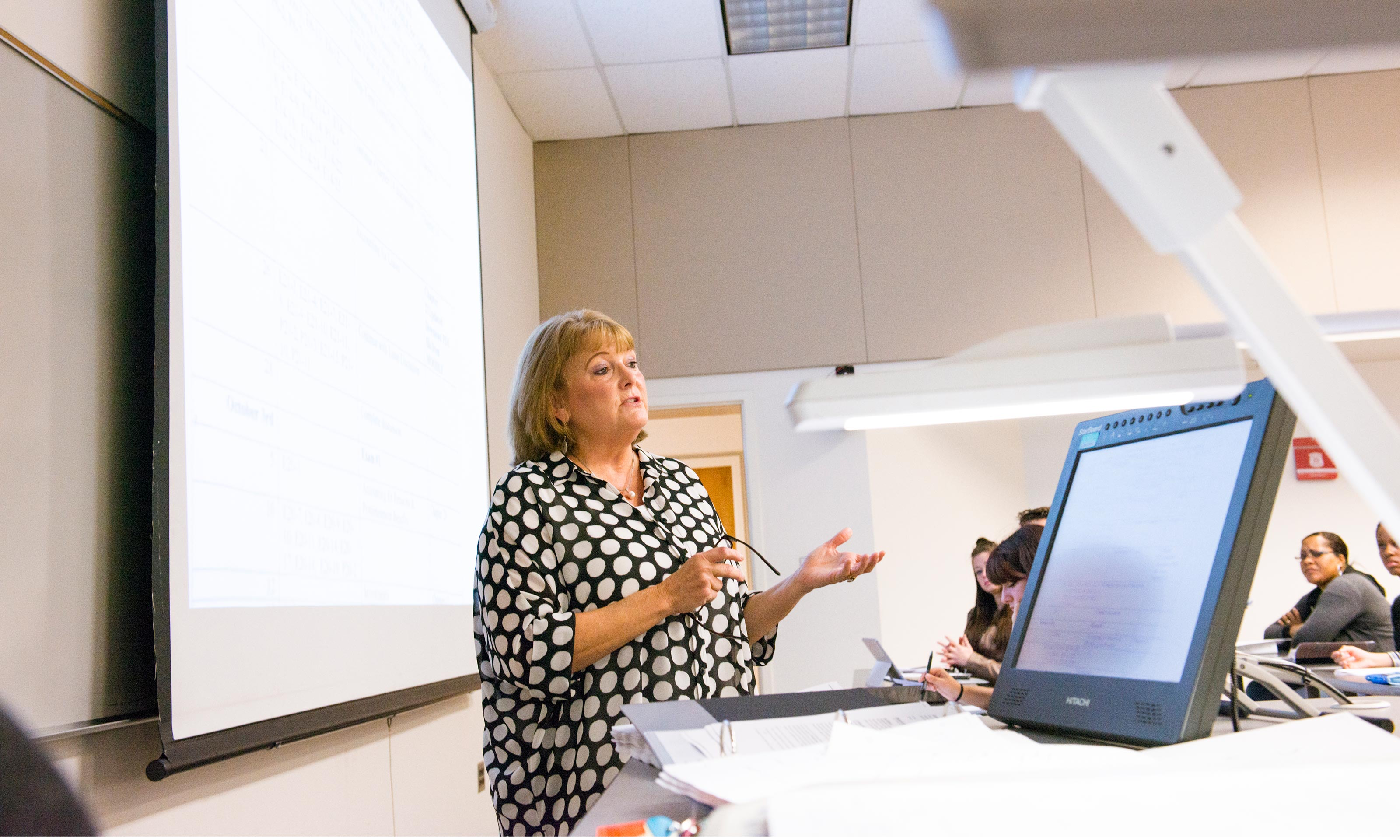 Oakland University professor Donna Free teaches a course in Elliott Hall