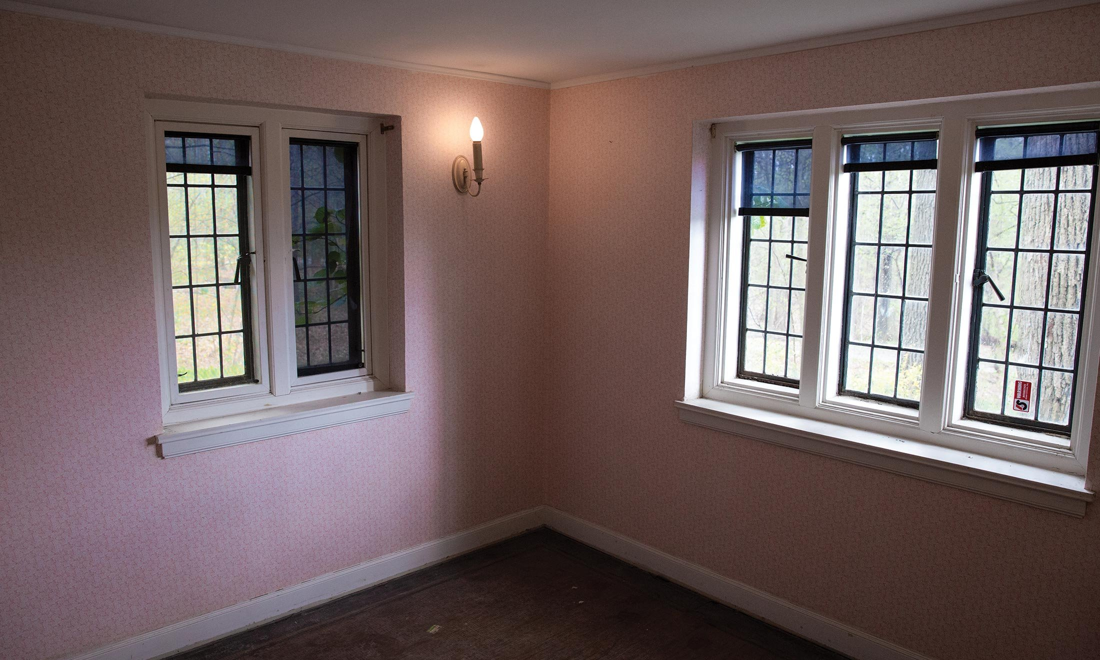 Inside a room under construction in Knole Cottage on the grounds of the Meadow Brook Estate