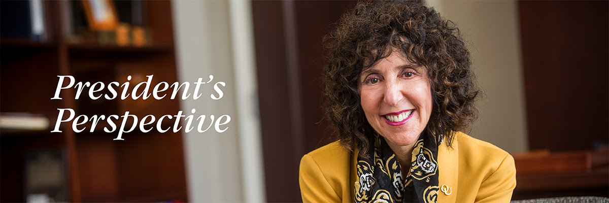 O U's President, Dr. Ora Hirsch Pescovitz, posed for a headshot. Text to the left of the image reads President's Perspective
