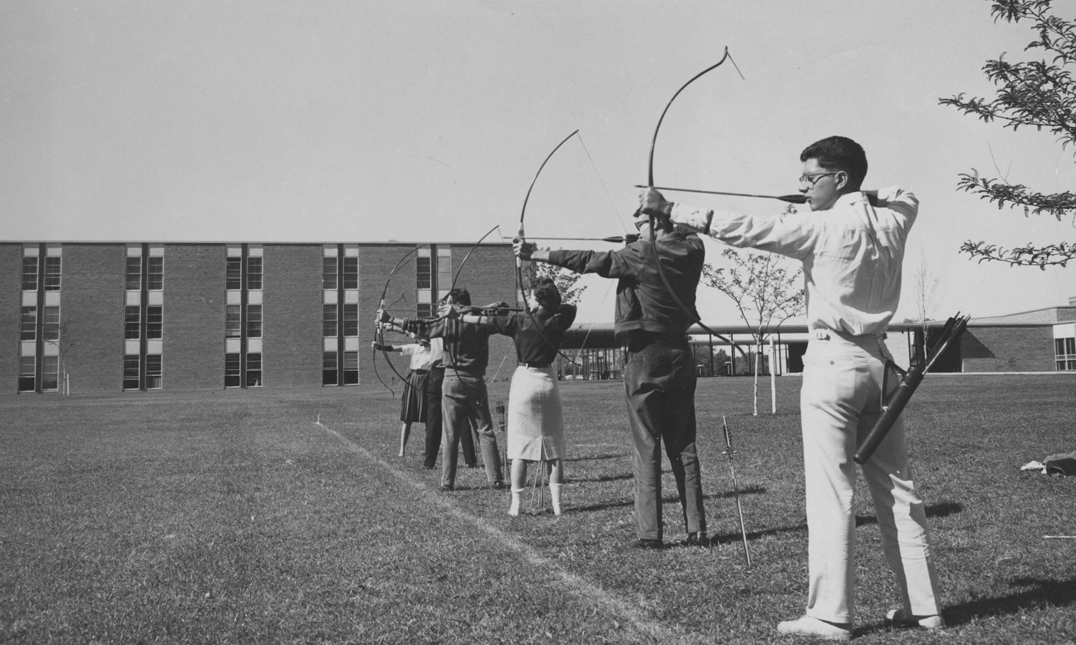 Students practice archery at Oakland University