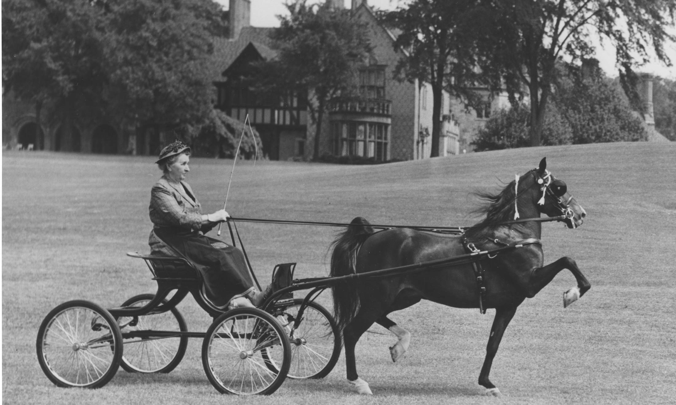 Matilda Dodge Wilson rides around Meadowbrook estate by horse