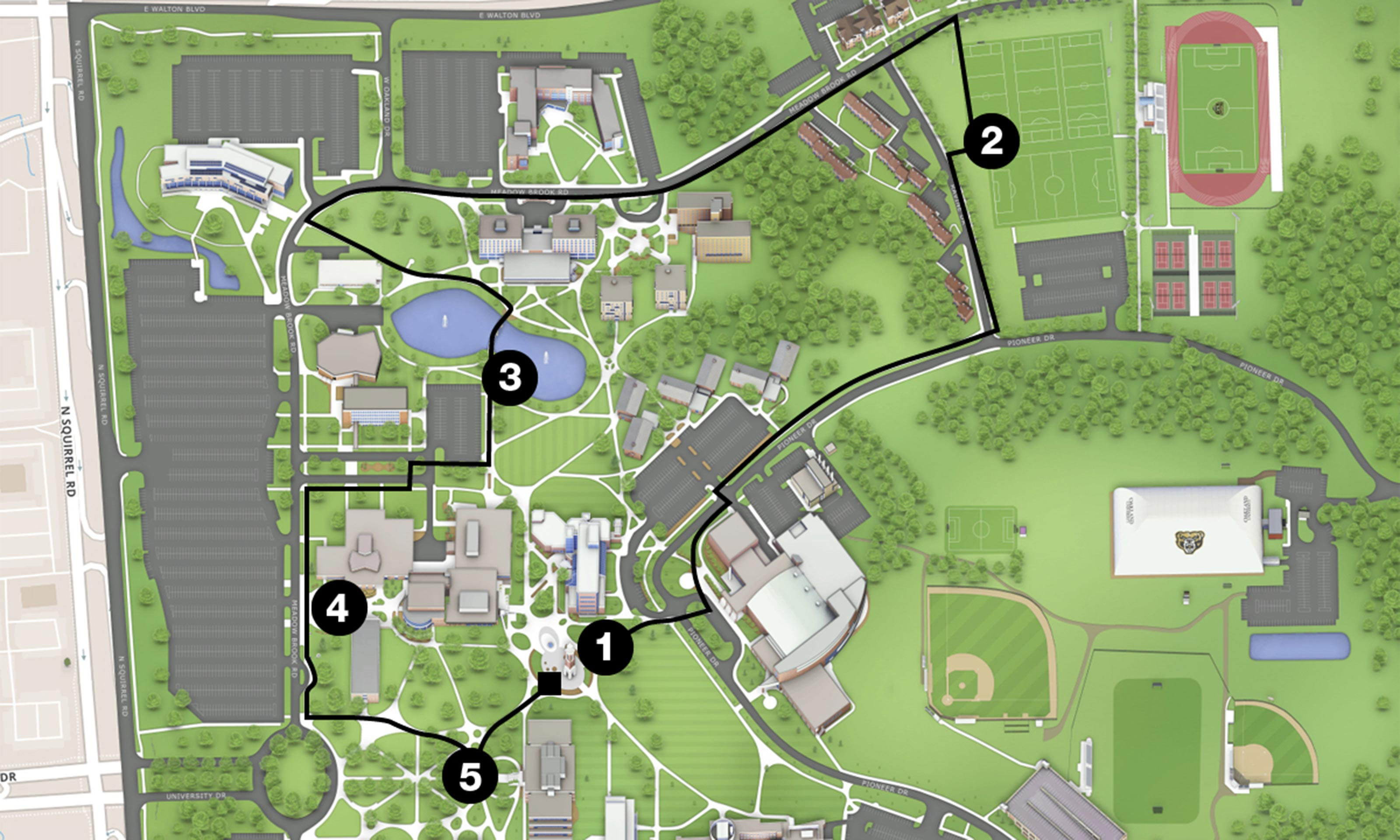 5K course route at Oakland University in Rochester Hills
