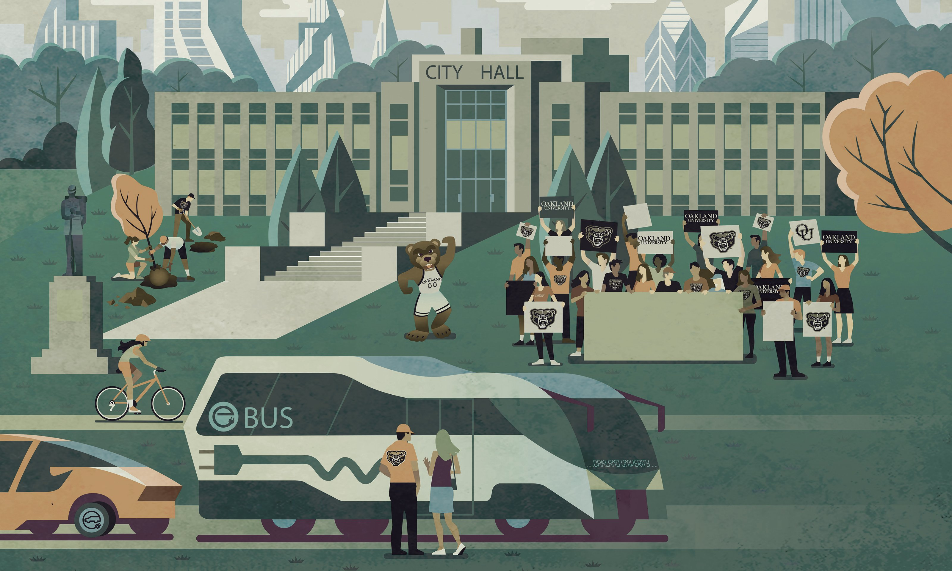 Illustration of Pontiac City Hall with OU students and grizz bear cheering outside. People planting trees to the right and bus and cyclist in the foreground.