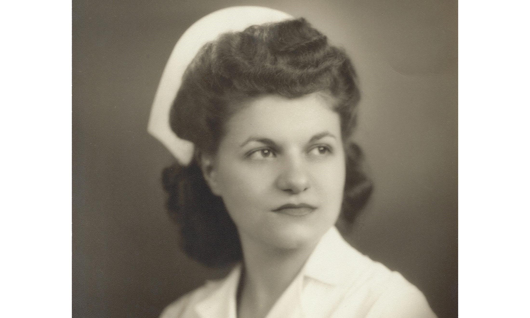 Vintage black and white portrait of nurse Marie Tamburo