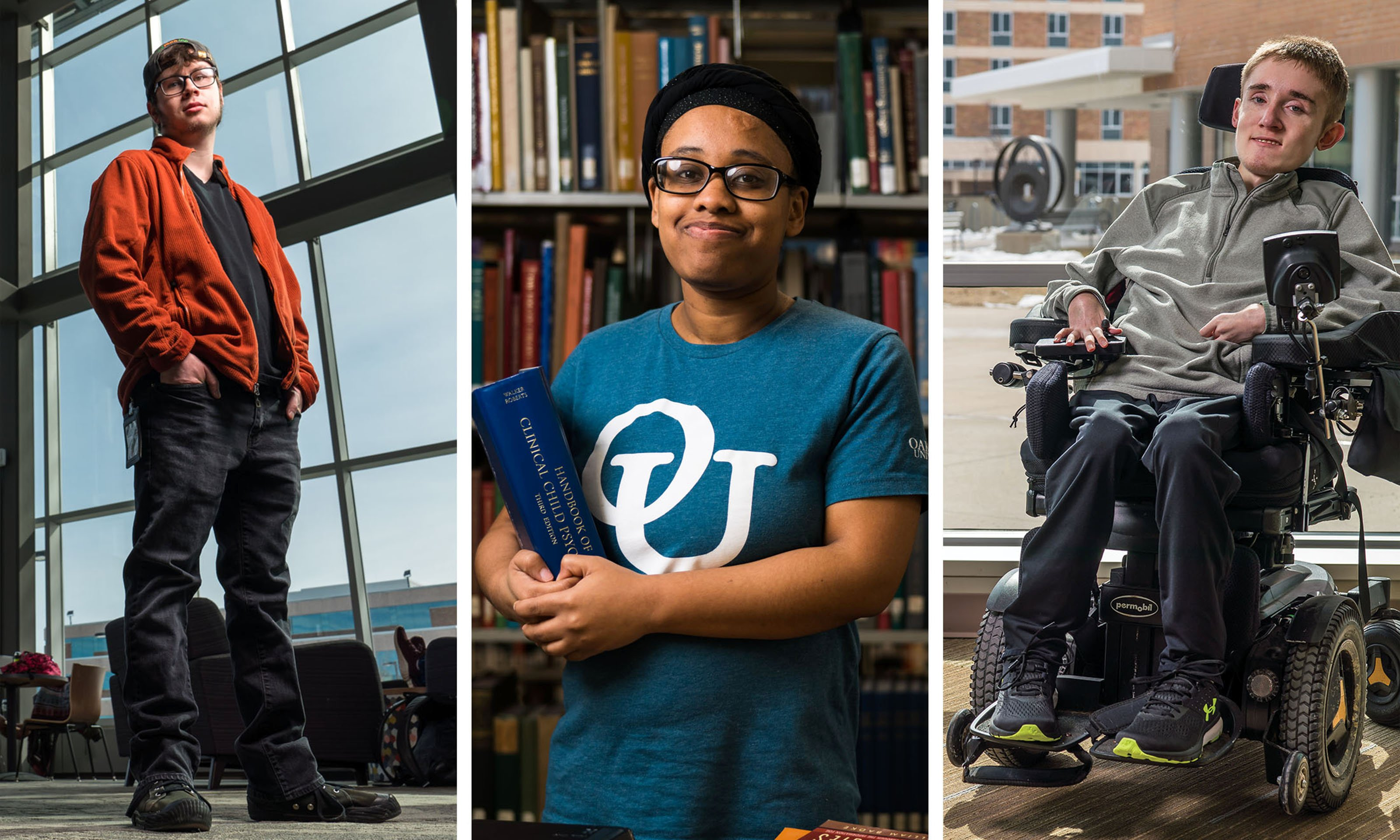three photos, left to right: male standing, female holding books, male in wheelchair